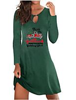 cheap -Women's A Line Dress Short Mini Dress Green Black Navy Blue Long Sleeve Letter Print Fall Winter Round Neck Casual Christmas 2021 S M L XL XXL 3XL 4XL 5XL
