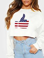 cheap -Women's Sweatshirt Crop Top American US Flag Crop Top Print Casual Sports Hot Stamping Cotton Active Streetwear Hoodies Sweatshirts  Yellow Gray White