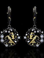 cheap -Women's AAA Cubic Zirconia Earrings Monogram Bird Fashion Vintage European Earrings Jewelry Black For Halloween Street Gift Festival 1 Pair