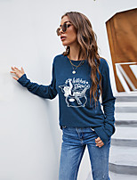 cheap -Women's Halloween Abstract Painting T shirt Graphic Text Long Sleeve Print Round Neck Basic Halloween Tops Cotton Blue Wine Black
