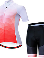 cheap -21Grams Women's Short Sleeve Cycling Jersey with Shorts Summer Spandex Red and White Gradient Bike Quick Dry Moisture Wicking Sports Patterned Mountain Bike MTB Road Bike Cycling Clothing Apparel