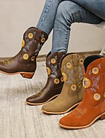 cheap -Women's Boots Round Toe PU Solid Colored Light Brown Khaki Brown