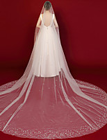 cheap -One-tier Classic & Timeless / Elegant & Luxurious Wedding Veil Chapel Veils / Cathedral Veils with Solid Tulle