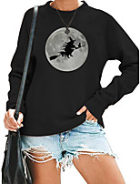 cheap -Women's Sweatshirt Halloween Print Crew Neck Halloween Casual Hot Stamping Streetwear Halloween Hoodies Sweatshirts  Blushing Pink Gray White