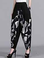 cheap -Women's Hip-Hop Harlem Pants Comfort Harem Bloomers Loose Casual Weekend Pants Plaid Checkered Geometry Ankle-Length Pocket Elastic Waist Print Black / White Silver Black Dark Gray