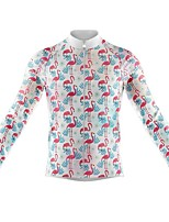 cheap -21Grams Men's Long Sleeve Cycling Jersey Spandex Polyester White Flamingo Funny Bike Top Mountain Bike MTB Road Bike Cycling Quick Dry Moisture Wicking Breathable Sports Clothing Apparel / Stretchy