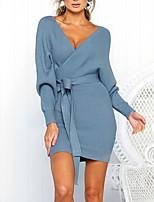 cheap -Women's Sheath Dress Short Mini Dress Blue Wine Gray Green Black Brown Light Blue Long Sleeve Solid Color Backless Lace up Fall V Neck Work Elegant Casual 2021 S M L XL XXL 3XL / Cotton