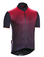 cheap -21Grams Men's Short Sleeve Cycling Jersey Summer Spandex Red Fuchsia Blue Gradient Bike Top Mountain Bike MTB Road Bike Cycling Quick Dry Moisture Wicking Sports Clothing Apparel / Stretchy