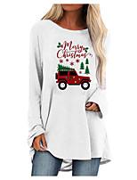 cheap -Women's Shift Dress Short Mini Dress Blue Blushing Pink Gray White Black Brown Long Sleeve Print Letter Print Fall Winter Round Neck Casual Christmas 2021 S M L XL XXL 3XL 4XL 5XL