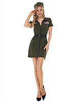 cheap -Police Uniforms Cosplay Costume Adults' Women's Halloween Halloween Festival Halloween Festival / Holiday Terylene Green Women's Easy Carnival Costumes Solid Color / Dress / Hat / Waist Belt