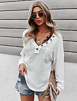 cheap -Women's T shirt Plain Long Sleeve Pocket Button V Neck Basic Tops Wine Green White