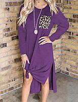 cheap -Women's A Line Dress Midi Dress Blue Purple Wine Gray Black Red Long Sleeve Leopard Split Pocket Print Fall Round Neck Casual 2021 S M L XL XXL 3XL