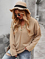 cheap -Women's T shirt Plain Long Sleeve Button V Neck Basic Tops Blushing Pink Dark Gray Brown