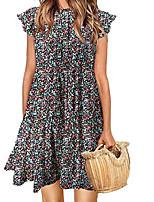 cheap -Women's A Line Dress Short Mini Dress Blue Blushing Pink Wine Khaki Short Sleeve Floral Print Fall Round Neck Casual 2021 S M L XL