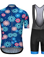 cheap -CAWANFLY Men's Short Sleeve Cycling Jersey with Bib Shorts Summer Polyester Bule / Black Geometic Funny Bike Clothing Suit Breathable Sweat wicking Sports Geometic Mountain Bike MTB Road Bike Cycling