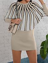 cheap -Women's Sweater Jumper Dress Short Mini Dress Gray Black Red Beige Long Sleeve Color Block Patchwork Fall Round Neck Casual 2021 M XL XXL