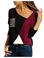 cheap -Women's T shirt Leopard Long Sleeve Patchwork V Neck Elegant Tops Blue Gray Black / 3D Print