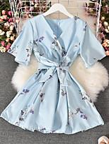 cheap -Women's A Line Dress Short Mini Dress Light Blue Blushing Pink White Navy Blue Short Sleeve Flower Bowknot Print Spring Summer V Neck Active Casual 2021 M L