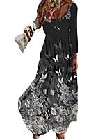 cheap -Women's A Line Dress Maxi long Dress Black Long Sleeve Floral Butterfly Print Fall Summer V Neck Casual 2021 S M L XL XXL