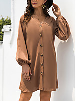 cheap -Women's A Line Dress Short Mini Dress ArmyGreen khaki Black Long Sleeve Solid Color Modern Style Fall Winter V Neck Casual 2021 S M L XL