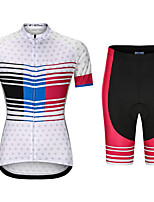 cheap -21Grams Women's Short Sleeve Cycling Jersey with Shorts Summer Spandex White Dot Bike Quick Dry Moisture Wicking Sports Dot Mountain Bike MTB Road Bike Cycling Clothing Apparel / Stretchy / Athletic