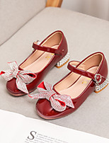 cheap -Girls' Heels Flower Girl Shoes Leather PU Portable Walking Wedding Dress Shoes Little Kids(4-7ys) Big Kids(7years +) Daily Party & Evening Walking Shoes Rhinestone Bowknot Sparkling Glitter Red Pink