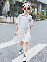 cheap -Kids Little Girls' Dress Stripes Solid Color Letter White Short Sleeve Casual / Daily Dresses Summer 3-13 Years / Cotton