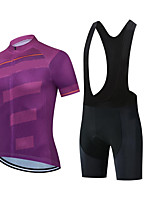 cheap -CAWANFLY Men's Short Sleeve Cycling Jersey with Bib Shorts Summer Fuchsia Bike Sports Geometic Mountain Bike MTB Road Bike Cycling Clothing Apparel / Micro-elastic / Athleisure / Triathlon