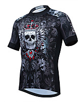 cheap -21Grams Men's Short Sleeve Cycling Jersey Summer Spandex Polyester Dark Grey Skull Floral Botanical Funny Bike Top Mountain Bike MTB Road Bike Cycling Quick Dry Moisture Wicking Breathable Sports