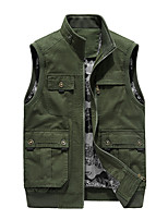 cheap -Men's Jacket Sport Daily Fall Regular Coat Stand Collar Regular Fit Thermal Warm Windproof Breathable Boho Jacket Sleeveless Solid Color Pleated Khaki Black Army Green