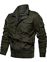 cheap -Men's Military Jacket Cotton Bomber Jacket Casual Cargo Jacket Winter Parka Pilot Jacket Windproof Windbreaker Outdoor Thermal Warm Multi-Pockets Army Outerwear Trench Coat Top Traveling Fishing