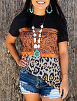 cheap -Women's T shirt Color Block Leopard Patchwork Round Neck Basic Tops Green Black