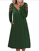 cheap -Women's A Line Dress Midi Dress Purple Grey Green Black Red Brown Dark Blue Long Sleeve Solid Color Hollow Out Zipper Fall Spring V Neck Casual Sexy 2021 S M L XL XXL 3XL 4XL 5XL