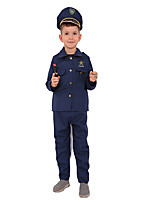 cheap -Police Cosplay Costume Kid's Boys' Halloween Halloween Halloween Festival / Holiday Polyster Blue Easy Carnival Costumes Solid Color Stars / Hat