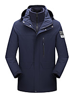 cheap -Men's Hiking 3-in-1 Jackets Ski Jacket Hiking Fleece Jacket Winter Outdoor Thermal Warm Windproof Fleece Lining Lightweight Outerwear Windbreaker Trench Coat Skiing Fishing Climbing Black / male Dark