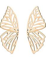 cheap -big hollow butterfly earrings for women girls trendy exaggerated bohemian gold silver plated geometric metal dangle drop wings studs earrings jewelry (gold)