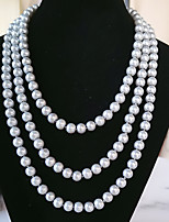 cheap -Beaded Necklace Long Necklace Women's Beads Imitation Pearl Simple Romantic Vintage Classic Boho Gray White Black 150 cm Necklace Jewelry 1pc for Street Gift Daily Work Festival Round