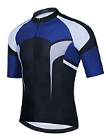 cheap -21Grams Men's Short Sleeve Cycling Jersey Summer Spandex Polyester Blue / Black Color Block Funny Bike Top Mountain Bike MTB Road Bike Cycling Quick Dry Moisture Wicking Breathable Sports Clothing