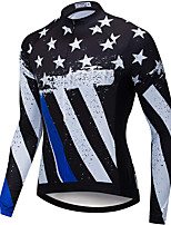 cheap -21Grams Men's Long Sleeve Cycling Jersey Spandex Black+White American / USA Bike Top Mountain Bike MTB Road Bike Cycling Quick Dry Moisture Wicking Sports Clothing Apparel / Stretchy / Athleisure