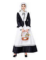 cheap -Uniforms Dress Cosplay Costume Adults' Women's Dresses Halloween Halloween Halloween Festival / Holiday Terylene Cotton Black Women's Easy Carnival Costumes Solid Color / Hat