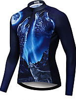 cheap -21Grams Men's Long Sleeve Cycling Jersey Spandex Black / Blue Wolf Bike Top Mountain Bike MTB Road Bike Cycling Quick Dry Moisture Wicking Sports Clothing Apparel / Stretchy / Athleisure