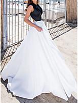 cheap -A-Line Beautiful Back Color Clash Wedding Guest Formal Evening Dress Shirt Collar Sleeveless Sweep / Brush Train Satin with Sleek 2021