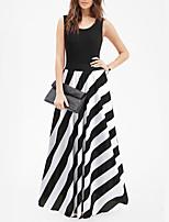 cheap -Women's A Line Dress Maxi long Dress Black Sleeveless Stripes Modern Style Summer Deep U Casual 2021 S M L XL XXL XXXL 4XL 5XL