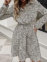 cheap -Women's Shirt Dress Short Mini Dress Apricot Long Sleeve Leopard Print Elastic Waistband Print Spring Summer Collar Active Casual 2021 S M L XL