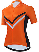 cheap -21Grams Women's Short Sleeve Cycling Jersey Summer Spandex Orange Stripes Bike Top Mountain Bike MTB Road Bike Cycling Quick Dry Moisture Wicking Sports Clothing Apparel / Stretchy / Athleisure