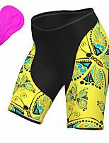 cheap -21Grams Women's Cycling Shorts Summer Spandex Bike Padded Shorts / Chamois Quick Dry Moisture Wicking Sports Butterfly Animal Yellow Mountain Bike MTB Road Bike Cycling Clothing Apparel Bike Wear