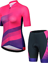 cheap -21Grams Women's Short Sleeve Cycling Jersey with Shorts Summer Spandex Rose Red Stripes Bike Quick Dry Moisture Wicking Sports Stripes Mountain Bike MTB Road Bike Cycling Clothing Apparel / Stretchy