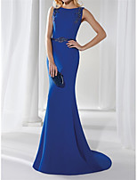cheap -Mermaid / Trumpet Beautiful Back Elegant Engagement Formal Evening Dress Boat Neck Sleeveless Sweep / Brush Train Stretch Fabric with Beading Appliques 2021