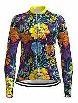 cheap -21Grams Women's Long Sleeve Cycling Jersey Spandex Yellow Floral Botanical Bike Top Mountain Bike MTB Road Bike Cycling Quick Dry Moisture Wicking Sports Clothing Apparel / Stretchy / Athleisure