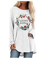 cheap -Women's Shift Dress Short Mini Dress Blue Blushing Pink Gray White Black Brown Long Sleeve Floral Letter Print Fall Winter Round Neck Casual Christmas 2021 S M L XL XXL 3XL 4XL 5XL
